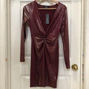 Lulus Metallic Striped Long Sleeve Bodycon Dress